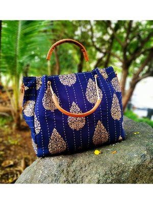 Flower Printed Blue Based Cottom Silk And Fox Lether Designer Handbag