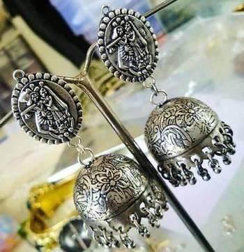 Tribal german silver jhumka earring