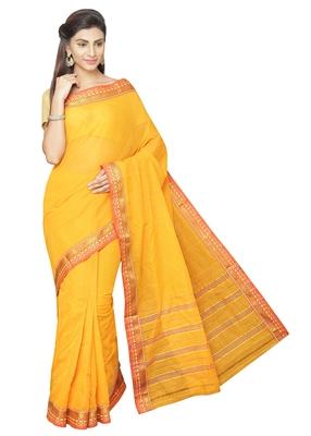 Gold plain cotton saree with blouse