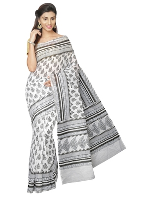 White printed cotton poly saree with blouse