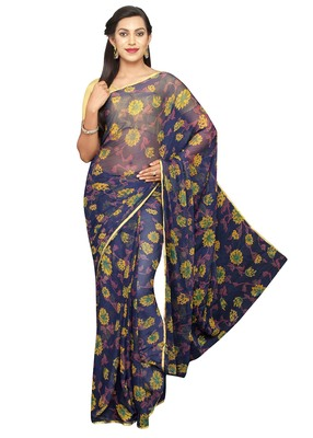 Dark blue printed chiffon saree with blouse
