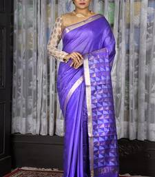 Violet woven silk saree with blouse