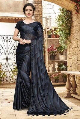 Black plain silk saree with blouse