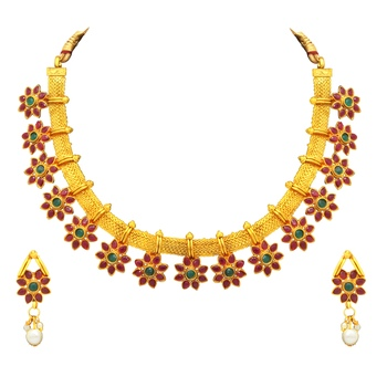 Gold crystal necklace-sets