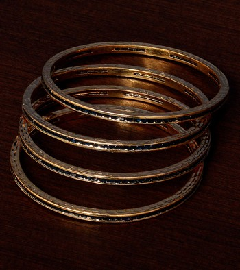 Sapphire Stone Embellished Two Pairs of American Diamond Bangles BD373