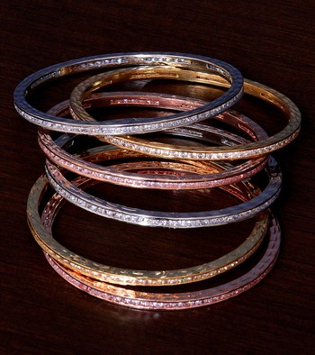 Rose Gold, White Gold and Rhodium Plated AAA CZ Embellished Three Pairs of Bangles BD374