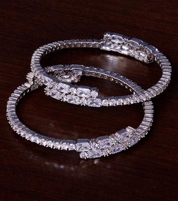 Rhodium Plated AAA CZ Embellished American Diamond Bangles BD375