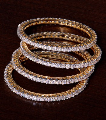 White Gold Plated AAA CZ Embellished 2 Pairs of American Diamond Bangles BD377