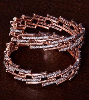 Rose Gold Plated AAA CZ Embellished American Diamond Bangles BD378