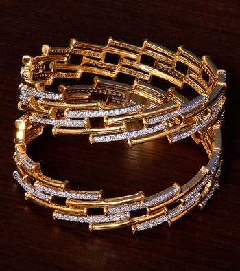 White Gold Plated AAA CZ Embellished American Diamond Bangles BD379