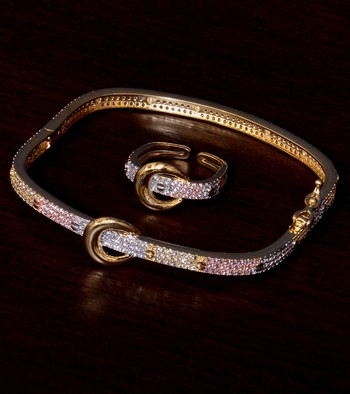 Rose Gold, White Gold and Rhodium Plated AAA CZ Embellished 3 Tone Bracelet cum Ring BD380