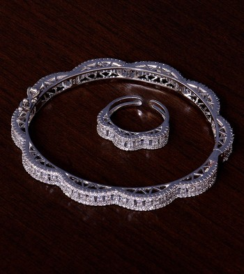 Rhodium Plated AAA CZ Embellished American Diamond Bracelet cum Ring BD382