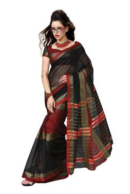 Black Cotton Saree Zari With Blouse