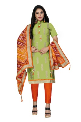 Light-green embroidered cotton salwar