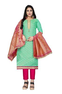 Sea-green woven jacquard salwar