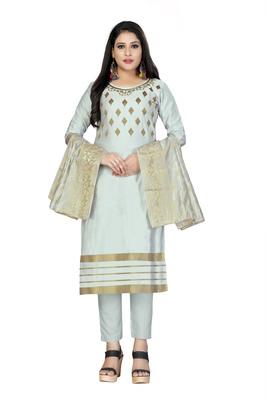 Light-Blue Embroidered Cotton Salwar