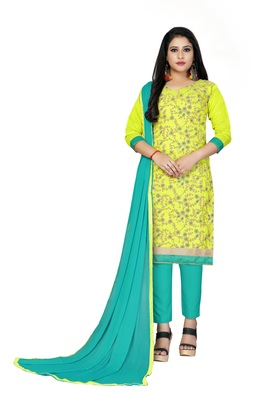 Light-green embroidered cotton salwar