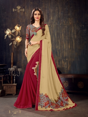 Beige printed chiffon saree with blouse