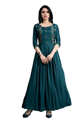 Blissta Women's Teal Namo Slub Embroidered Maxi Length Dress in Western Style