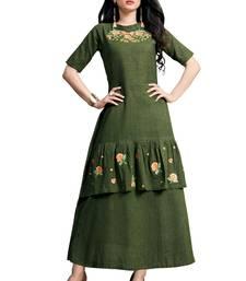 Blissta Olive Green Embroidered Namo Slub Maxi Length Dress