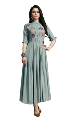 Blissta Turquoise (Rama) Embroidered Namo Slub Maxi Length Dress