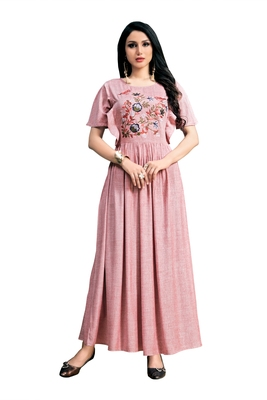 Blissta Peach Embroidered Namo Slub Maxi Length Dress