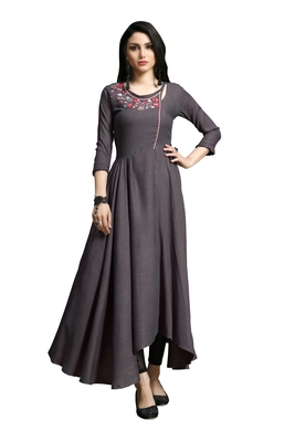 Blissta Dark Purple Embroidered Namo Slub Maxi Length Dress