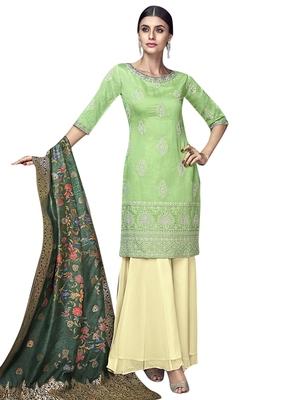 Green embroidered chanderi silk salwar