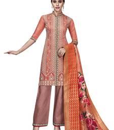 Orange embroidered chanderi silk salwar