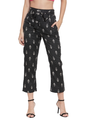 Black plain Rayon trousers