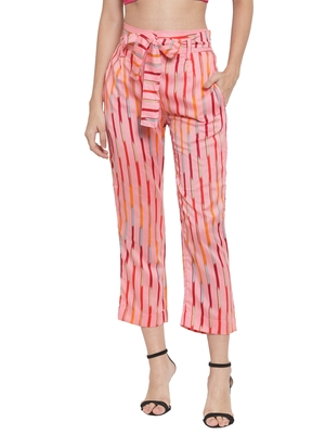 Pink plain Rayon trousers