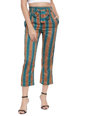 green plain Rayon trousers
