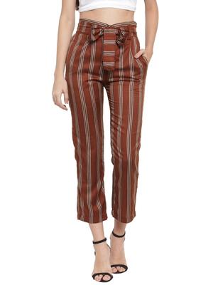 Brown plain Rayon trousers