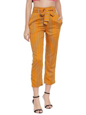Yellow plain Rayon trousers