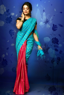 SKY BLUE AND MAJENTA BLENDED COTTON WITH GHICHA STRIPES AND PALLU