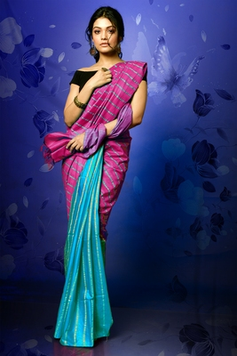 MAGENTA AND SKY BLUE BLENDED COTTON WITH GHICHA STRIPES AND PALLU