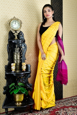 Yellow woven blended cotton saree with blouse