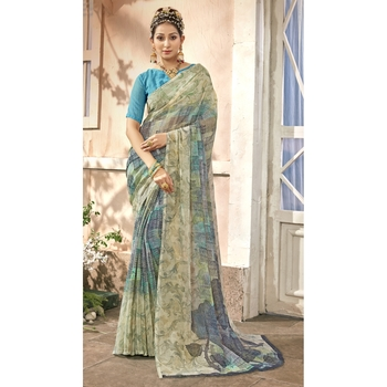 Grey printed chiffon saree with blouse