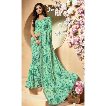 Sea green printed chiffon saree with blouse