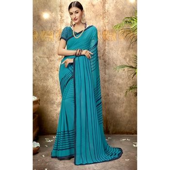 Sky blue printed georgette saree with blouse