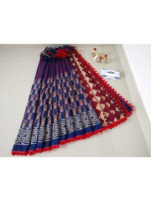 Blue Cotton Indigo Hand Block Printed Saree WIth Pompom Border
