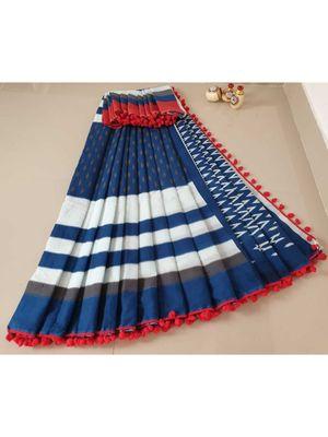 Blue Cotton Indigo Hand Block Printed Saree WIth Red Coloured Pompom Border