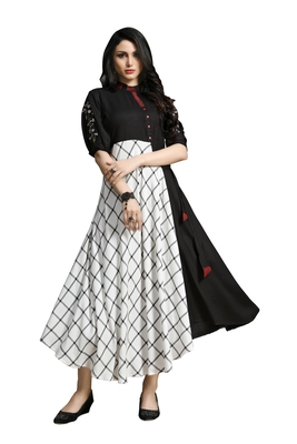 Blissta Women's Black And White Namo Slub Embroidered Maxi Length Dress in Western Style