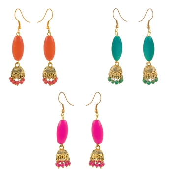 Saizen Multicolor Gold-Plated Combo Of 3 Jhumki Earrings For Women
