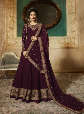 Purple embroidered faux georgette salwar