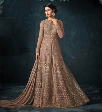 Light-brown embroidered net salwar
