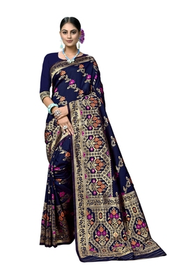 Navy blue woven printed saree with blouse