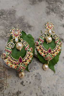 Gold swarovski crystal earrings