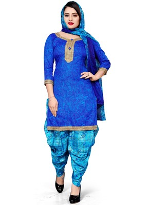 Blue floral print cotton salwar