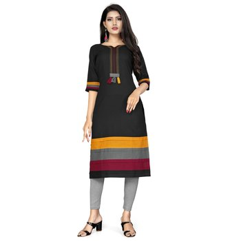 Black plain cotton kurtas-and-kurtis